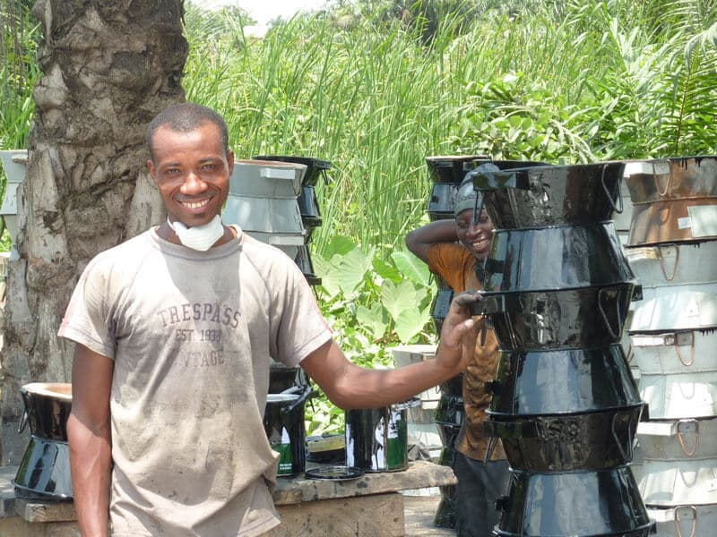 Peter Atta - one of the manufacturer of Gyapa Cookstoves, poses for a photograph.